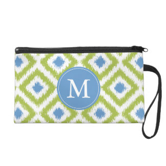 Monogrammed Blue Green Diamonds Ikat Pattern Wristlet