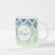 Monogrammed Blue Green Moroccan Lattice Pattern Frosted Glass Coffee Mug