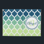 "Monogrammed Blue Green Moroccan Lattice Pattern iPad Air Case<br><div class=""desc"">Cute,  trendy,  girly modern Moroccan lattice trellis pattern in shades of blue,  teal and mint green,  with a white border. A cool,  geometric graphic pattern for women that love stylish patterned gifts. This design features a customizable nameplate for you to personalize your name and monogram.</div>"