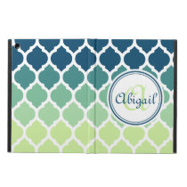 Monogrammed Blue Green Moroccan Lattice Pattern iPad Air Case