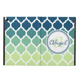 Monogrammed Blue Green Moroccan Lattice Pattern iPad Air Case