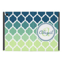 Monogrammed Blue Green Moroccan Lattice Pattern iPad Mini Case