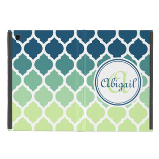 Monogrammed Blue Green Moroccan Lattice Pattern iPad Mini Case