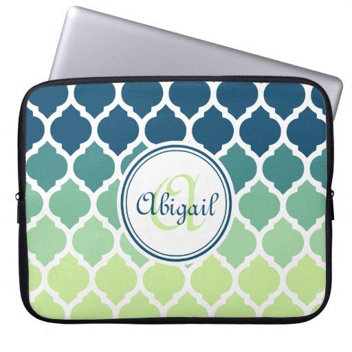Monogrammed Blue Green Moroccan Lattice Pattern Laptop Sleeves