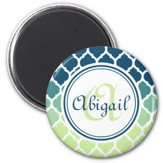 Monogrammed Blue Green Moroccan Lattice Pattern Magnet