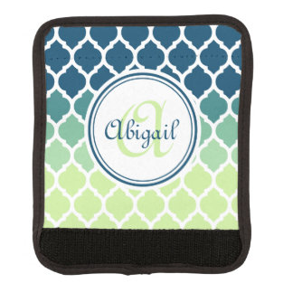 Monogrammed Blue Green Moroccan Lattice Pattern Luggage Handle Wrap