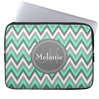 Monogrammed Blue & Grey Chevron Pattern Computer Sleeve