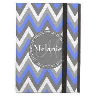 Monogrammed blue & Grey Chevron Pattern iPad Air Covers