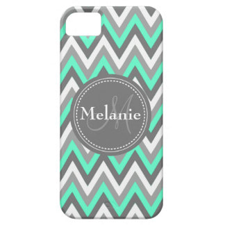 Monogrammed Blue & Grey Chevron Pattern iPhone 5 Cover