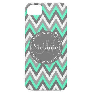Monogrammed Blue & Grey Chevron Pattern iPhone SE/5/5s Case
