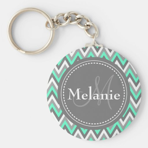 Monogrammed Blue & Grey Chevron Pattern Key Chains