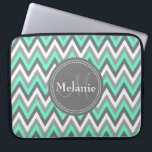 "Monogrammed Blue &amp; Grey Chevron Pattern Laptop Sleeve<br><div class=""desc"">Cool cute chic trendy blue,  grey and white chevron zigzag tribal pattern with gray nameplate for your custom monogram initial letter and name. Great gift for girly girls that love geometric patterns and monogrammed gifts.</div>"