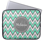 Monogrammed Blue &amp; Grey Chevron Pattern Laptop Sleeve<br><div class='desc'>Cool cute chic trendy blue,  grey and white chevron zigzag tribal pattern with gray nameplate for your custom monogram initial letter and name. Great gift for girly girls that love geometric patterns and monogrammed gifts.</div>