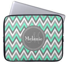 Monogrammed Blue & Grey Chevron Pattern Laptop Sleeve at Zazzle