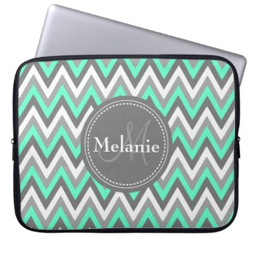 Aztec Themed Monogrammed Blue & Grey Chevron Pattern Laptop Sleeve