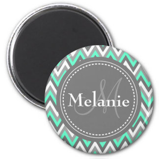 Monogrammed Blue & Grey Chevron Pattern Magnet