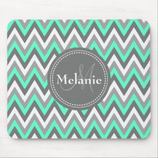 Monogrammed Blue & Grey Chevron Pattern Mouse Pad