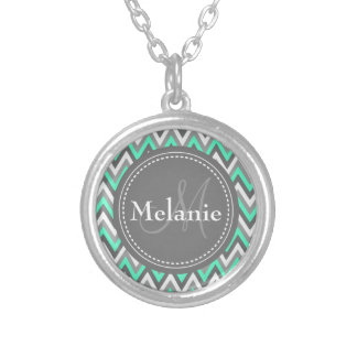 Monogrammed Blue & Grey Chevron Pattern Round Pendant Necklace