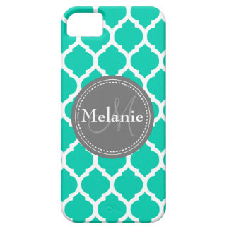 Monogrammed Blue & Grey Quatrefoil iPhone 5 Cover