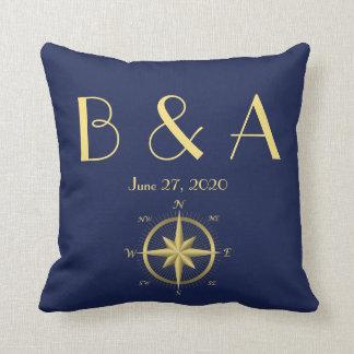 Monogrammed Blue Nautical Wedding Pillows Throw Pillows