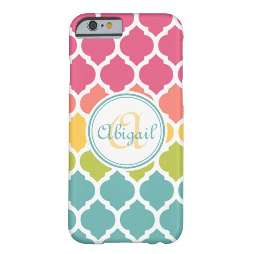 Monogrammed Blue Pink Moroccan Lattice Pattern Barely There Iphone 6 Case