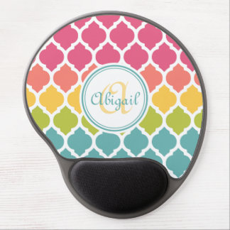 Monogrammed Blue Pink Moroccan Lattice Pattern Gel Mouse Pad