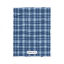 Monogrammed Blue Plaid Rustic Preppy Pattern Cozy Fleece Blanket