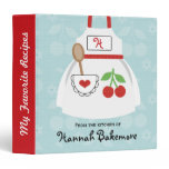 Monogrammed Blue Red Cherry Apron Recipe Binder