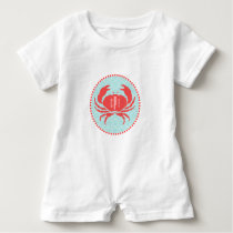 Monogrammed Blue  Red Crab Romper