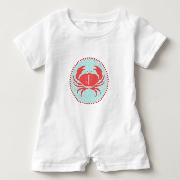 Beach Themed Monogrammed Blue  Red Crab Romper