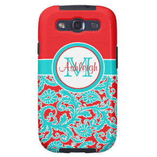 Monogrammed Blue, Red, White Damask Galaxy S3 Case