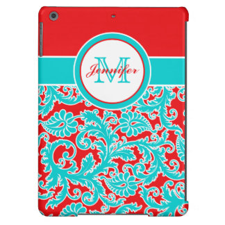 Monogrammed Blue Red White Damask iPad Air Case
