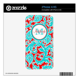 Monogrammed Blue Red White Damask iPhone 4/4s Skin Skin For iPhone 4