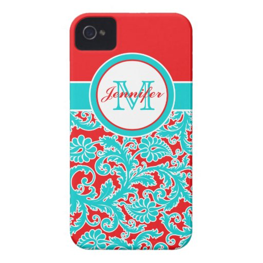 Monogrammed Blue, Red, White Damask iPhone 4 iPhone 4 Cases