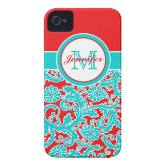 Monogrammed Blue, Red, White Damask iPhone 4 iPhone 4 Case