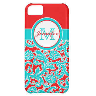 Monogrammed Blue Red White Damask iPhone 5 iPhone 5C Covers