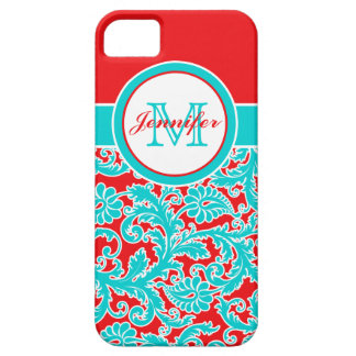 Monogrammed Blue, Red, White Damask iPhone 5 iPhone SE/5/5s Case