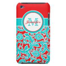 Monogrammed Blue Red White Damask Ipod Touch Case at Zazzle