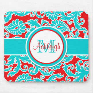 Monogrammed Blue Red White Damask Mousepad