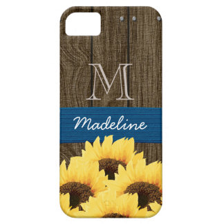 MONOGRAMMED BLUE RUSTIC SUNFLOWER iPhone 5 COVERS