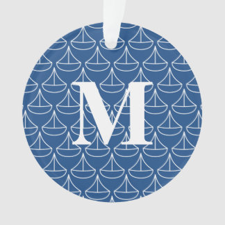 Monogrammed Blue Sailboat with custom colors Ornament