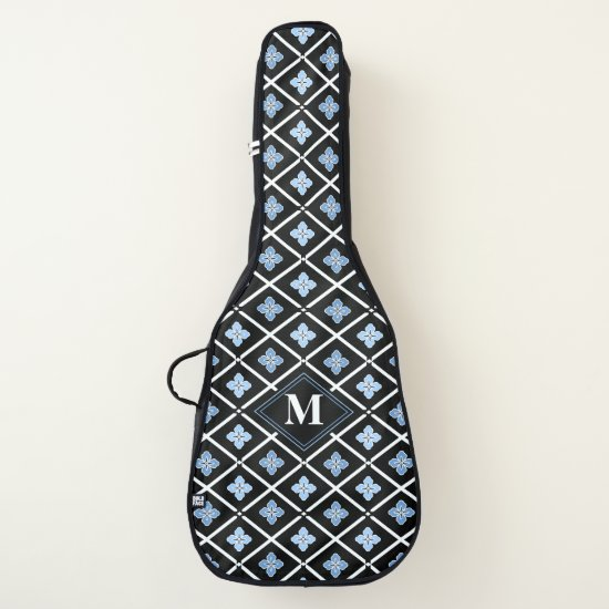 Monogrammed Blue sakura design Guitar Case