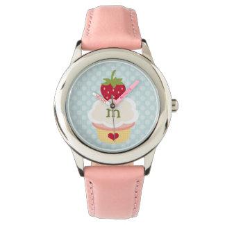 Monogrammed Blue Strawberry Cupcake Watch