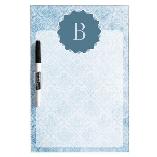 monogrammed blue vintage wallpaper dry erase white board
