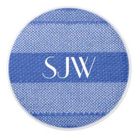 Monogrammed Blue Weave Ceramic Knob