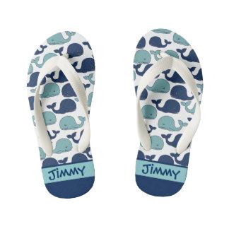 Monogrammed Blue Whales-Toddler & Kids Flip Flops