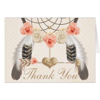 Monogrammed Blush Dream Catcher Wedding Thank You Card