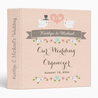 Monogrammed Blush Love Birds Dove Wedding Planner 3 Ring Binder