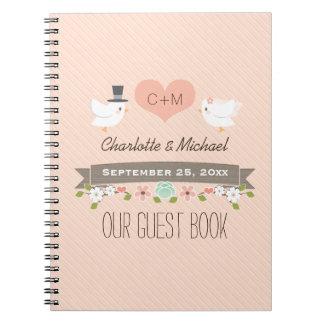 Monogrammed Blush Love Birds Wedding Guest Book
