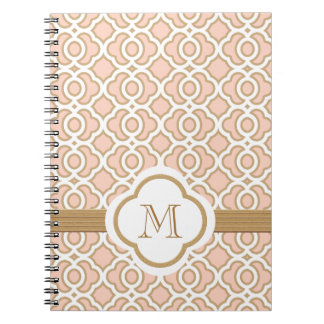 Monogrammed Blush Pink and Gold Moroccan Notebook